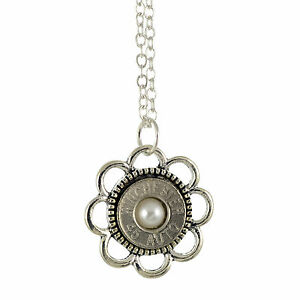 45 Caliber Bullet Casing Necklace Silvertone Flower with Frost Accent 18