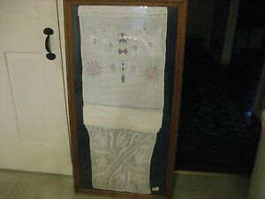 C 1820 1830 Framed Show Towel With Hand Crotched Bottom And Needlework Top