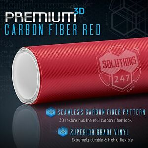3d Red Carbon Fiber Matte Vinyl Wrap Bubble Free Air Release 12 X 60 In Roll