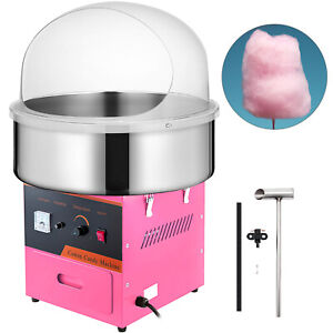 New Electric Cotton Candy Machine Pink Floss Carnival Commercial Maker W Cover