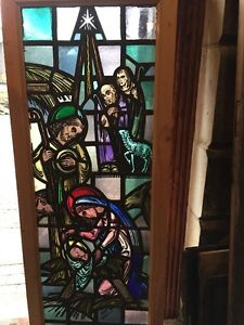 Sg 1097 Baby Jesus In The Manger Stain Glass Antique Window