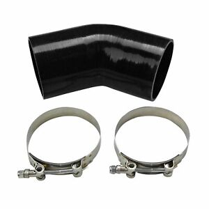 3 76mm 45 Degree Turbo Bend Hose Silicone Elbow Coupler Pipe Hose Clamps Blk