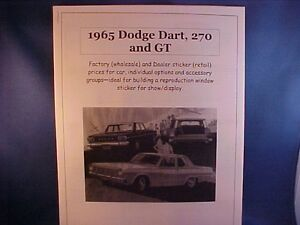 1965 Dodge Dart 270 Gt Factory Cost Dealer Sticker Prices For Car Options