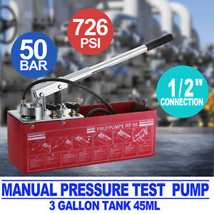 Hydraulic Manual Pressure Test Pump 726psi Lockable Arm 3gallon Industry Supply