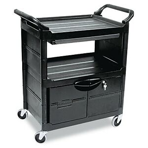 Rubbermaid Commercial Plastic Service And Utility Cart With Cabinet And Slidi