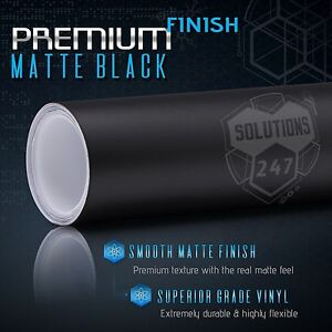 Matte Flat Black Vinyl Wrap Film Decal Bubble Free Air Release 12 X 60 In