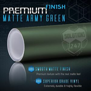 Matte Flat Army Green Vinyl Wrap Decal Car Bubble Free Air 60 X 60 In Roll