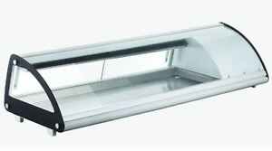 Omcan Rs cn 0063 sc 52 Refrigerated Curved Glass Sushi Display Case Brand New