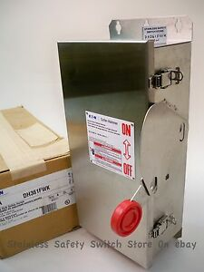 Eaton Stainless Dh361fwk 30a 600v Fused Safety Switch 44 Available New