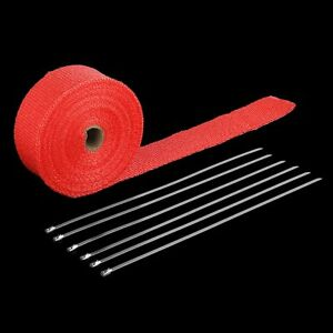 Exhaust Pipe Header Wrap 2 X 50 Red With 6 Ties Fiberglass Car Motorcycle Bp