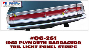 Ge Qg 261 1968 Plymouth Barracuda Rear Tail Light Panel Stripe Licensed