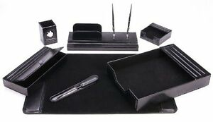 Majestic Goods Leather Desk Set 7 Piece Black Drawer Organizers Of