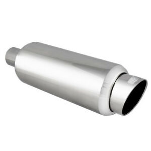 Universal Slanted Tip Stainless Steel 2 25 Inlet Exhaust Resonator Muffler