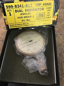 Brown And Sharpe 599 8341 611 Dial Indicator Jeweled Range 250 By 001