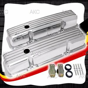 Finned Polished Aluminum Tall Valve Covers For 58 86 Chevy Sb 283 305 327 350
