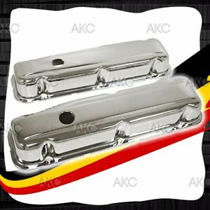 Chrome Steel Short Valve Covers For 68 81 Buick Small Block 350 V8 Engines