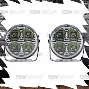 2 X High Performance 3 Round 4 Led Accent Light Kit For Racing Universal Fit