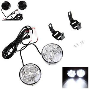 2pcs Universal 4 Round Led Car Daytime Running Light Fog Driving Lamp White I6v1