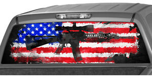American Rifle Flag Rear Window Graphic Decal Print Sticker Truck Ar15 M16