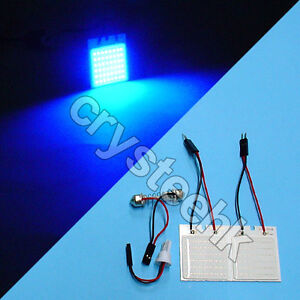 2 X Universal Dome Panel Light Cob 48 Led Smd Blue V12 T10 Festoon Bright Lamp