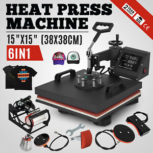 15 x15 T shirt Heat Press Transfer 6in1 Combo Printing Sublimation Diy Printer