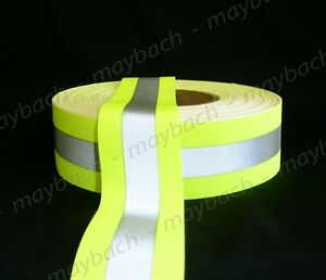 2 Reflective Tape Sew on Lime Yellow Green Fabric Vest Trim Ribbon