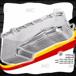 Polished Finned Aluminum 4qt Oil Pan For 80 85 Chevy Small Block 305 350