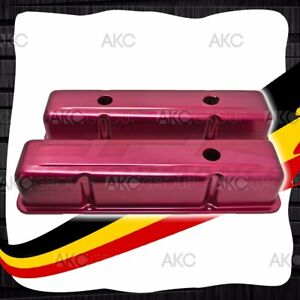 Anodized Red Stamped Aluminum Tall Valve Covers For Chevy Sb 283 305 327 350 400