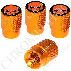 4 Gold Billet Aluminum Knurled Tire Air Valve Stem Caps Orange Evil Skull Blk