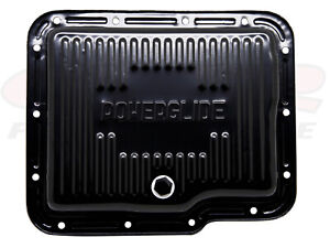 Black Steel Finned Stock Capacity Transmission Pan For Chevy Gm Powerglide
