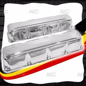 Chrome Steel Valve Covers For 68 79 Amc Jeep 304 360 390 401 V8 Engines