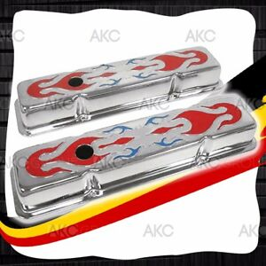 Painted Flames Steel Short Valve Covers For 58 86 Chevy Sb 283 305 327 350 400