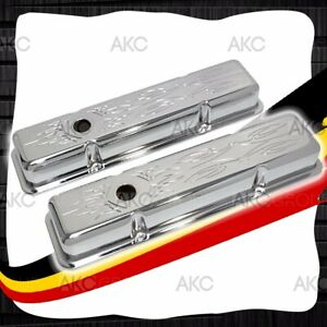 Pinstriped Steel Short Valve Covers For 58 86 Chevy Sb 283 305 327 350 400