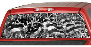 American Flag Buck Skull B W Camo Rear Window Graphic Decal Tint Suv Camouflage