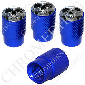 4 D Blue Billet Aluminum Knurled Tire Air Valve Stem Caps Chrome Skull F