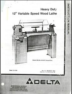 Delta Hd 12 Variable Speed Wood Lathe Instructions Manual Parts List Pdf