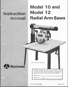 Delta 10 12 Radial Arm Saw Instructions Manual Parts For 10 12 Plus List Pdf