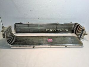 1963 Pontiac Bonneville Catalina Grille Trim Oem Insert Chrome Bar Lh Rh Pair