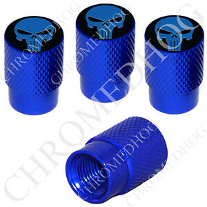 4 D Blue Billet Aluminum Knurled Tire Air Valve Stem Caps Punisher Skull Bub
