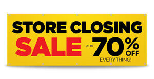 Store Closing Sale Banner Sign Print Business Outdoor Free Custom Text