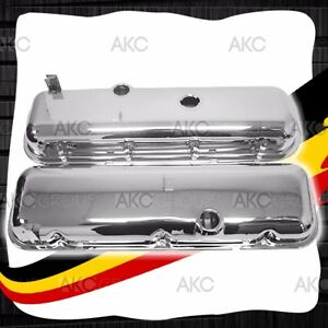 Chrome Steel Short Valve Covers W Dripper Rails For 65 72 Chevy Bb 396 427 454