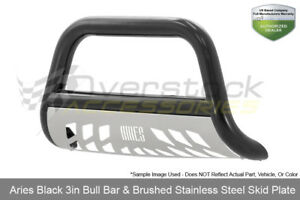 Aries 3in Black Bull Bar W Ss Skid Plate 2007 2015 Select Chevy Gmc Models