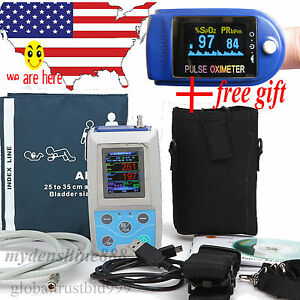 Usa Abpm2 Ambulatory Blood Pressure Holter 24h Pr Monitor Free Finger Oximeter