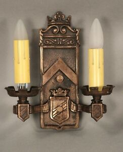1 Of 2 Double Light Bronze Sconce Light W Crest Spanish Revival Tudor 9976