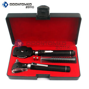 Fiber Optic Otoscope Ophthalmoscope Led Ent Set Black
