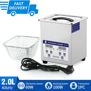 Skymen Digital 2l 60w Ultrasonic Cleaner Bath Cleaning Metal Parts Timed heater