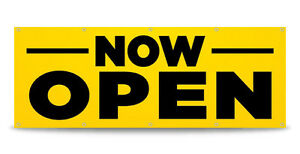 Now Open Banner Sign Grand Opening Business Vinyl Free Custom Text