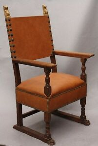 1920s Antique Spanish Revival Armchair Vintage Carved Wood Leather Chair 9896