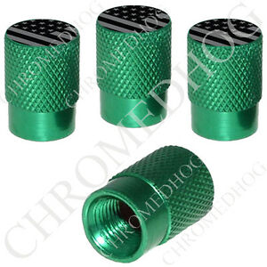 4 Green Billet Aluminum Knurled Tire Air Valve Stem Caps Usa Flag Ghost Flag