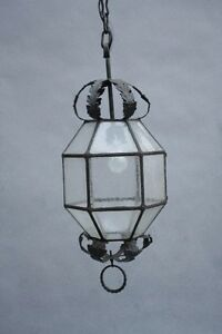 1920s Wrought Iron Pendant Light W Glass Antique Spanish Revival Tudor 9878